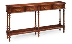 492788-WAL Jonathan Charles Narrow walnut console antique finish