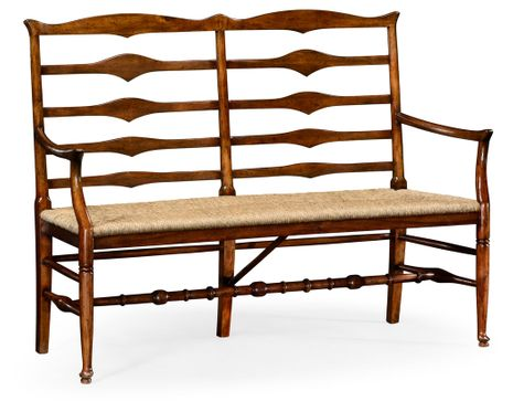492803-WAL Jonathan Charles Country Farmhouse Double Ladder Back Bench