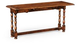 492816-WCD Jonathan Charles Country Farmhouse Walnut Leaf Table