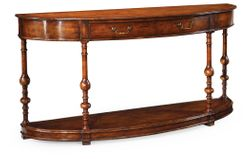 492891-WAL Jonathan Charles Demilune walnut console (Large)