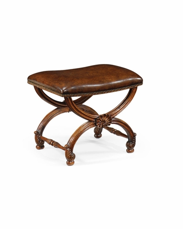 493052 Jonathan Charles Windsor French Style Walnut Footstool With Shell Decoration