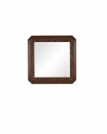 493145 Jonathan Charles Tudor Oak Square Mirror With Carved Rosettes