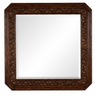 493145-TDO Jonathan Charles Sherwood Oak Dark Oak Square Mirror With Carved Rosettes