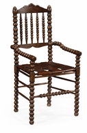 493241 Jonathan Charles Tudor Oak Bobbin Chair With Woven Leather Seat (Arm)