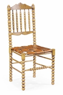 493242 Jonathan Charles Tudor Oak Bobbin Chair With Woven Leather Seat (Side)