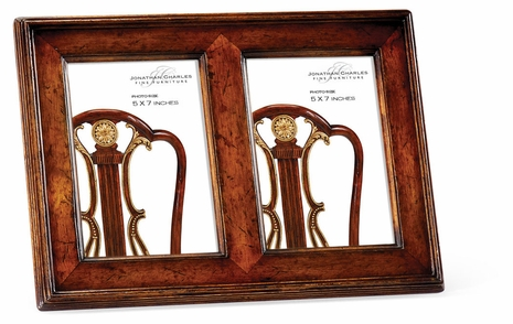 """493308-WLL Jonathan Charles Country Farmhouse Double Country Walnut Picture Frame (5""""X7"""")"""