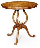 493577-SAM Jonathan Charles Versailles Walnut Lamp Table With Satinwood Inlaid Top
