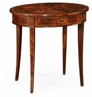 493893-LAM Jonathan Charles Oval mahogany lamp table