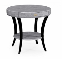 494000-EC001 Jonathan Charles Fine Furniture JC Modern - Indochine White Smoke Eggshell Round Side Table With Drawer