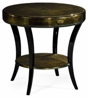494000-MGF Jonathan Charles Fine Furniture JC Modern - Indochine Dark Bronze Round Side Table With Drawer