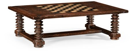 494039-CDW Jonathan Charles Country Farmhouse Turned Leg Heavy Distressed Games/Coffee Table
