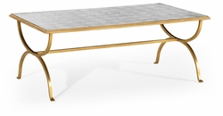 494060-G-GES Jonathan Charles Fine Furniture JC Modern - Luxe Eglomise & Gilded Iron Coffee Table