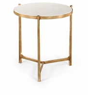 494140-G-SG01 Jonathan Charles Fine Furniture JC Modern - Luxe Large Scagliola & Gilded Round Side Table