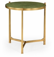 494140-G-SGG Jonathan Charles Fine Furniture JC Modern - Luxe Large Green Round Faux Shagreen Gilded Side Table