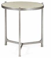 494140-S-SG01 Jonathan Charles Fine Furniture JC Modern - Luxe Large Scagliola & Silver Round Side Table