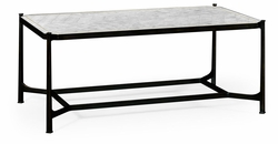 494144-B-GES Jonathan Charles Fine Furniture JC Modern - Luxe Eglomise & Bronze Iron Rectangular Coffee Table