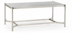 494144-S-GES Jonathan Charles Fine Furniture JC Modern - Luxe Eglomise & Silver Iron Rectangular Coffee Table