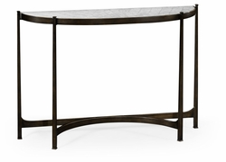 494149-B Jonathan Charles Fine Furniture JC Modern - Luxe Large Eglomise & Bronze Iron Demilune Console