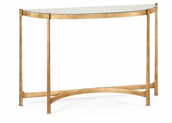 494149-G Jonathan Charles Fine Furniture JC Modern - Luxe Large Eglomise & Gilded Iron Demilune Console