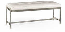 494150-S Jonathan Charles Fine Furniture JC Modern - Luxe Silver Iron & White Leather Bench