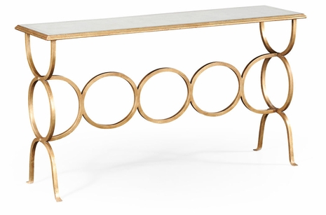 494156-G Jonathan Charles Fine Furniture JC Modern - Luxe Eglomise & Gilded Iron Circles Console