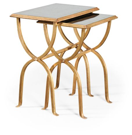 494176-G Jonathan Charles Fine Furniture JC Modern - Luxe Eglomise & Gilded Iron Nest Of Tables