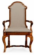 494208 Jonathan Charles Country Farmhouse Queen Anne Style Dining Or Fireside Chair (Arm)