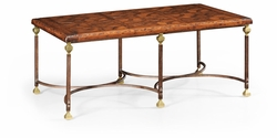 494248-DAW Jonathan Charles Fine Furniture JC Edited - Anvil Argentinian Walnut Parquetry & Iron Coffee Table