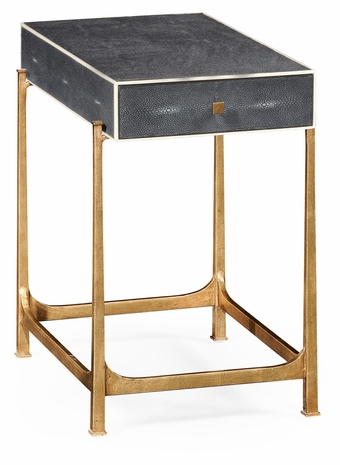 494256-G-SGA JC Modern Lux Anthracite Faux Shagreen & Gilded Iron Side Table