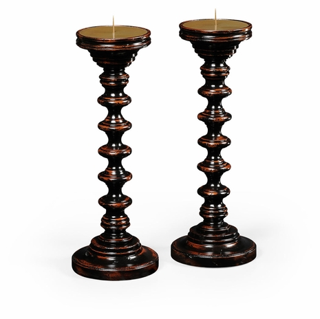 494271-EBF Jonathan Charles Bingley Pair Of Turned Ebonised Candlesticks