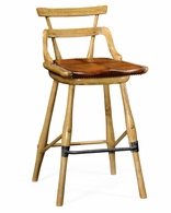 494315-SC-LNO Jonathan Charles Sherwood Oak Natural Oak Barstool With Studded Leather Seat (Side)