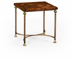 494318-DAW Jonathan Charles Fine Furniture JC Edited - Anvil Argentinian Walnut Parquetry & Iron Side Table