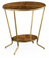 494338-LAW Jonathan Charles Moroccan Argentinian Walnut Veneered Oval Side Table