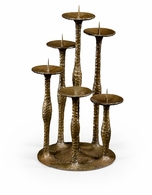 494370-BBL Jonathan Charles Fine Furniture JC Edited - Anvil Textured Brass Six Branch Candlestick