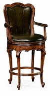 494385-WAL-L007 Jonathan Charles Windsor Revolving Barstool Green Leather (Arm)