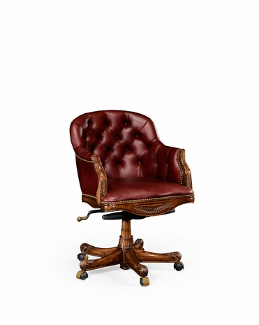 494395 Jonathan Charles Buckingham Buttoned Red Leather Desk Chair Low Back
