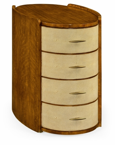 494405-DLF Jonathan Charles Fine Furniture JC Modern - Bayswater Ivory Shagreen Oval Bedside Chest Of Drawers With Brass