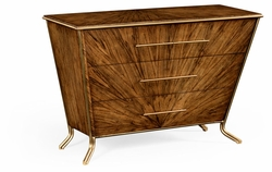 494413-LAW Jonathan Charles Moroccan Argentinian Walnut Veneered Tapering Chest Of Drawers