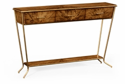 494414-LAW Jonathan Charles Moroccan Argentinian Walnut Veneered Tapering Console