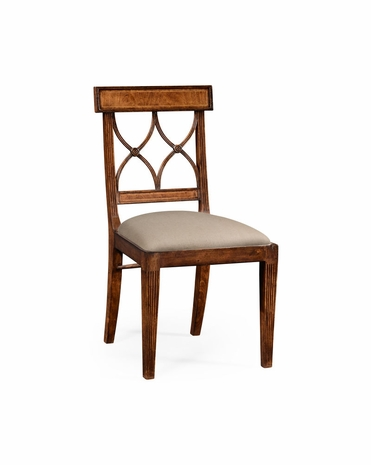 494500 Jonathan Charles Windsor Regency Crotch Walnut Curved Back Chair (Side)