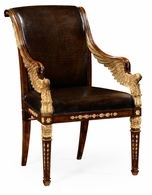 494590-AC-WAL-L009 Jonathan Charles Fine Furniture JC Modern - Icarus Empire Angel Armchair, Upholstered In Antique Caviar Black Leather