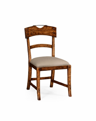 494860 Jonathan Charles Huntingdon Planked Walnut Rustic Side Chair With Upholstered Seat with Walnut Country Farmhouse Finish