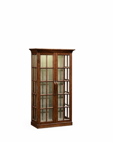 494862 Jonathan Charles Huntingdon Plank Walnut Fully Glazed Bookcase With Strap Handles with Walnut Country Farmhouse Finish