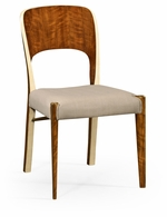 494907-SC-DLF-LVH-F001 Jonathan Charles Fine Furniture JC Modern - Cosmo Hyedua And Ivory Side Chair, Upholstered In Mazo