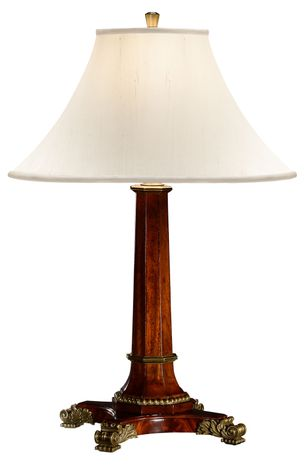494965-MAH Jonathan Charles Buckingham Empire Style Mahogany Table Lamp