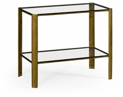 494975-LAB Jonathan Charles Fine Furniture JC Modern - Cosmo Brass & Glass End Table