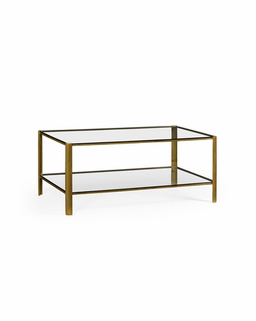 494977 Jonathan Charles Cosmo Brass Coffee Table with Brass Light Antique Finish