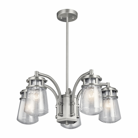 49498BA Kichler Fixtures Coastal Brushed Aluminum Outdoor Chandelier 5Lt