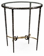 495023-BRO Jonathan Charles Fine Furniture JC Modern - Stiletto Hammered Antique Black Brass Circular Side Table