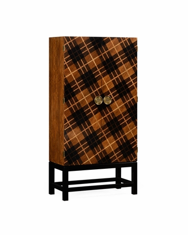 495041 Jonathan Charles Alexander Julian Tartan Haberdashery Chest with Light Walnut On Marquetry Veneer Finish